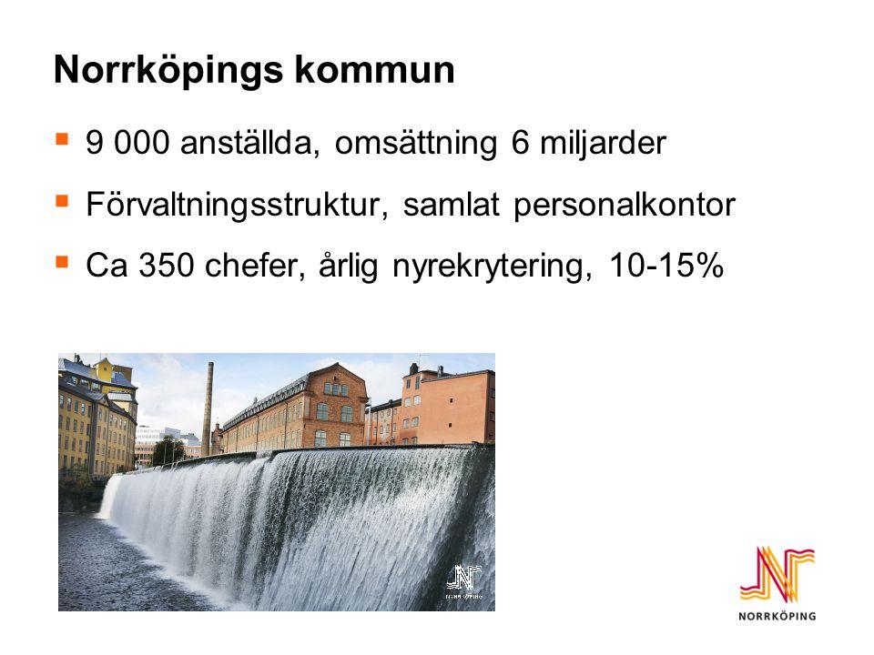 Norrköpings kommun  9 000 anställda, omsättning 6 miljarder  Förvaltningsstruktur, samlat personalkontor  Ca 350 chefer, årlig nyrekrytering, 10-15
