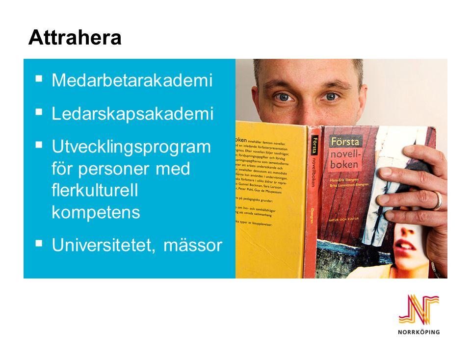 Attrahera  Medarbetarakademi  Ledarskapsakademi  Utvecklingsprogram för personer med flerkulturell kompetens  Universitetet, mässor