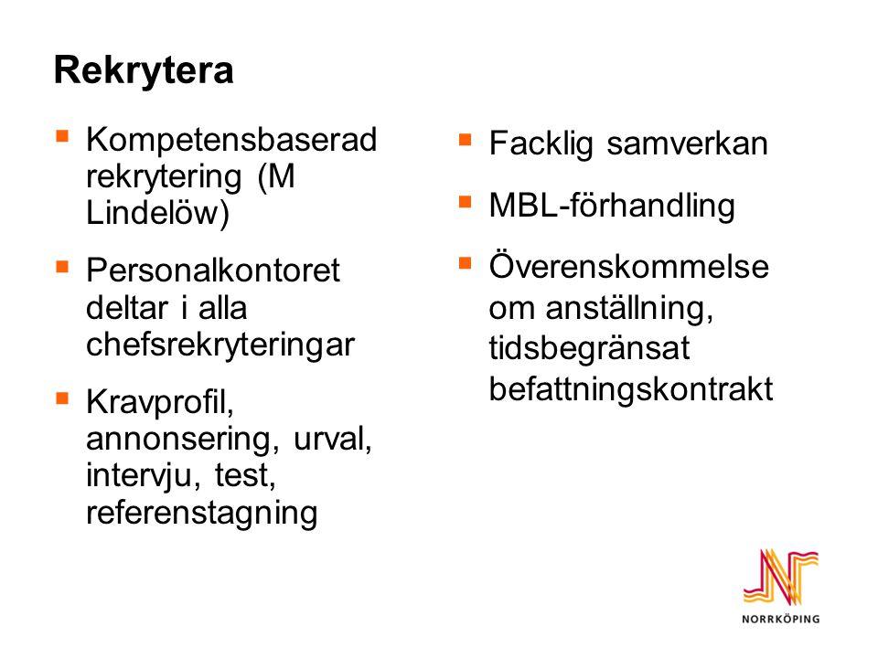 Rekrytera  Kompetensbaserad rekrytering (M Lindelöw)  Personalkontoret deltar i alla chefsrekryteringar  Kravprofil, annonsering, urval, intervju,