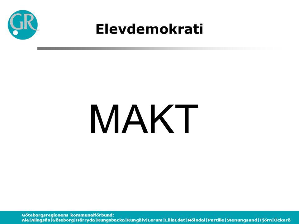 Göteborgsregionens kommunalförbund: Ale|Alingsås|Göteborg|Härryda|Kungsbacka|Kungälv|Lerum|LillaEdet|Mölndal|Partille|Stenungsund|Tjörn|Öckerö Elevdemokrati Att ta med sig i diskussionen Vilka formella system finns på din enhet.