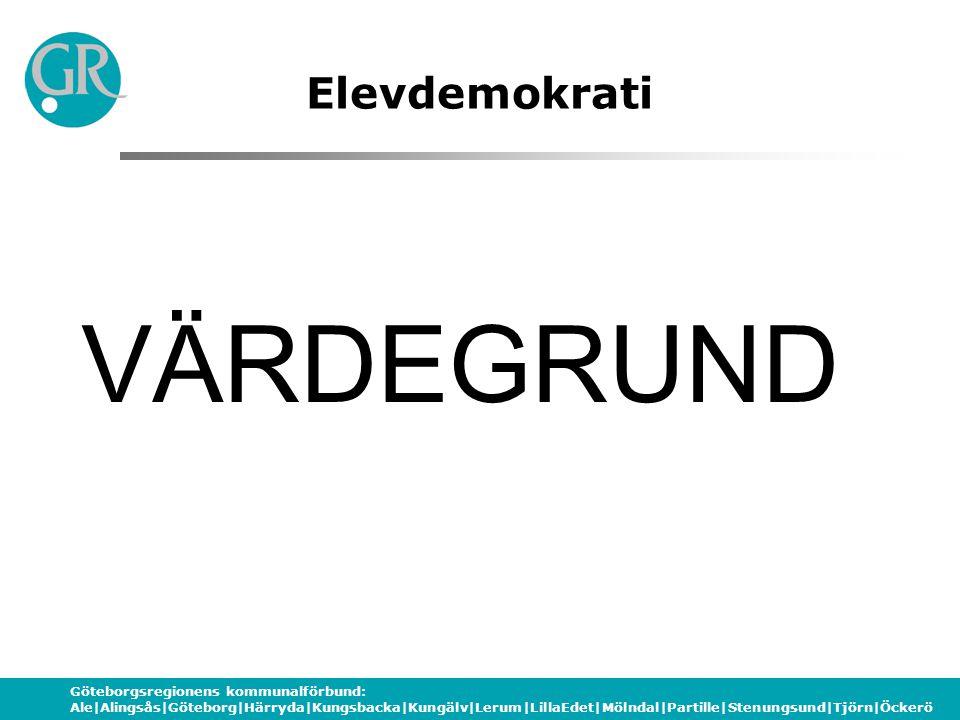 Göteborgsregionens kommunalförbund: Ale|Alingsås|Göteborg|Härryda|Kungsbacka|Kungälv|Lerum|LillaEdet|Mölndal|Partille|Stenungsund|Tjörn|Öckerö Elevdemokrati FORMELLA SYSTEM