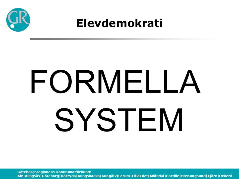 Göteborgsregionens kommunalförbund: Ale|Alingsås|Göteborg|Härryda|Kungsbacka|Kungälv|Lerum|LillaEdet|Mölndal|Partille|Stenungsund|Tjörn|Öckerö Elevdemokrati INFORMELLA SYSTEM
