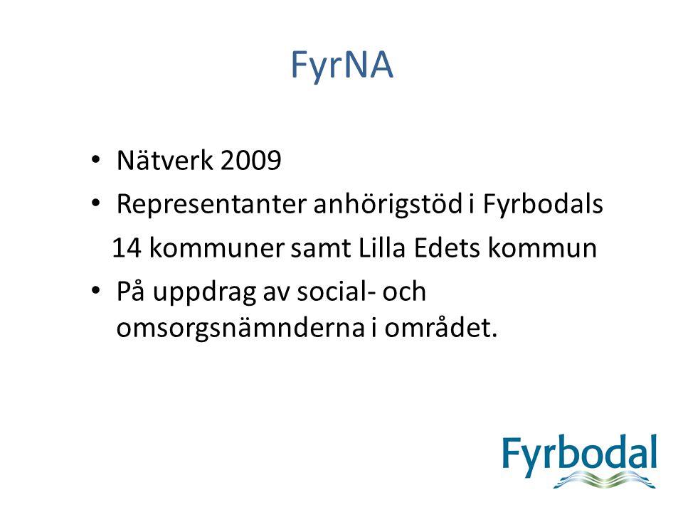 FyrNA Nätverk 2009 Representanter anhörigstöd i Fyrbodals 14 kommuner samt Lilla Edets kommun På uppdrag av social- och omsorgsnämnderna i området.