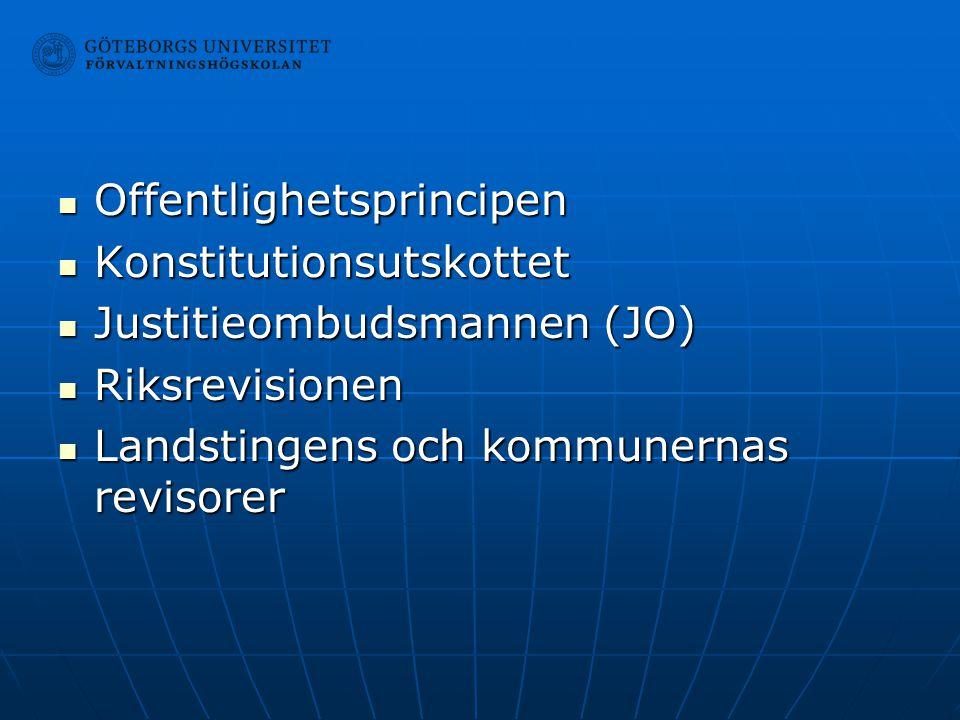 Offentlighetsprincipen Offentlighetsprincipen Konstitutionsutskottet Konstitutionsutskottet Justitieombudsmannen (JO) Justitieombudsmannen (JO) Riksre
