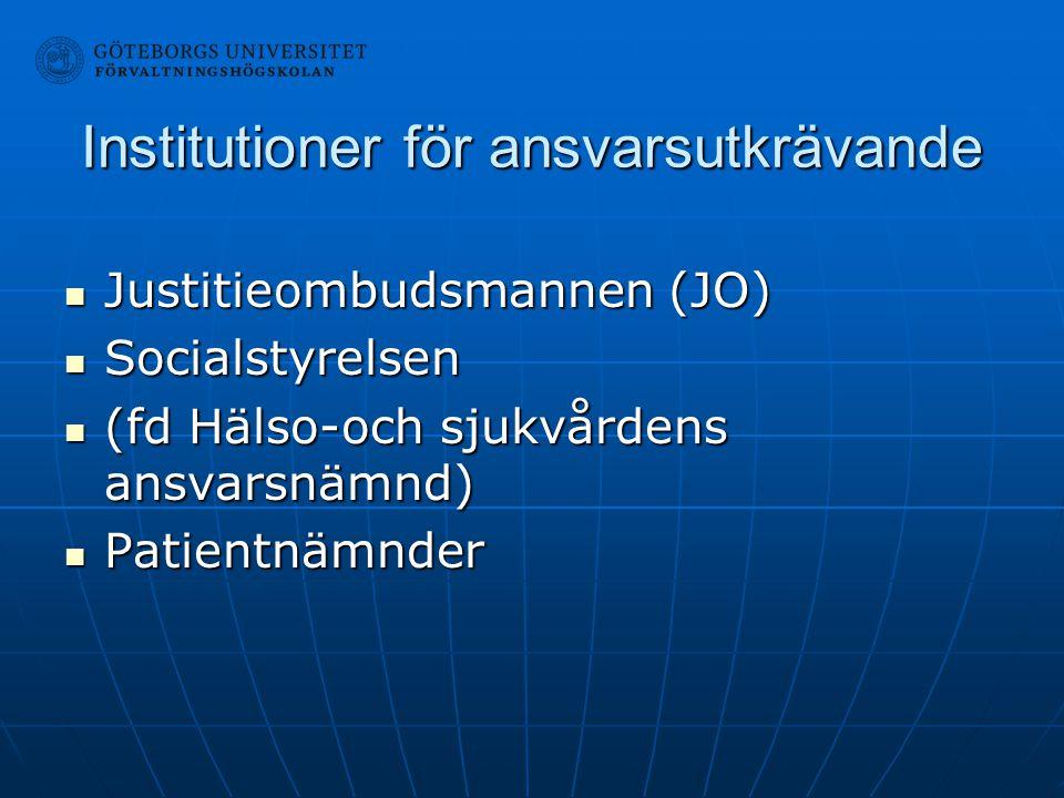 Institutioner för ansvarsutkrävande Justitieombudsmannen (JO) Justitieombudsmannen (JO) Socialstyrelsen Socialstyrelsen (fd Hälso-och sjukvårdens ansv