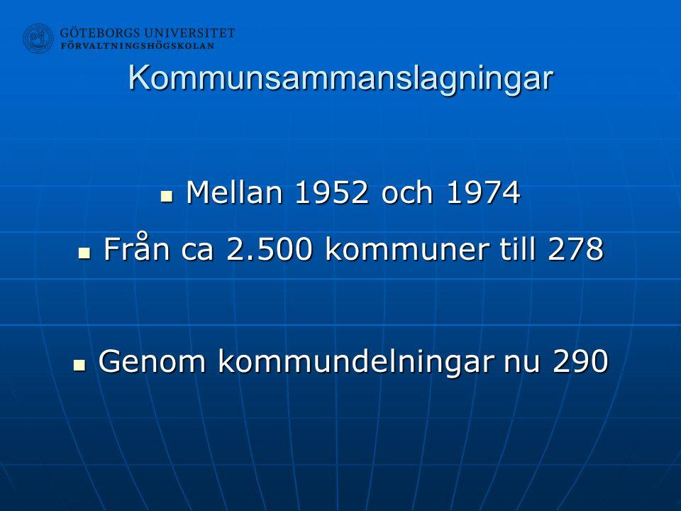 Kommunsammanslagningar Mellan 1952 och 1974 Mellan 1952 och 1974 Från ca 2.500 kommuner till 278 Från ca 2.500 kommuner till 278 Genom kommundelningar