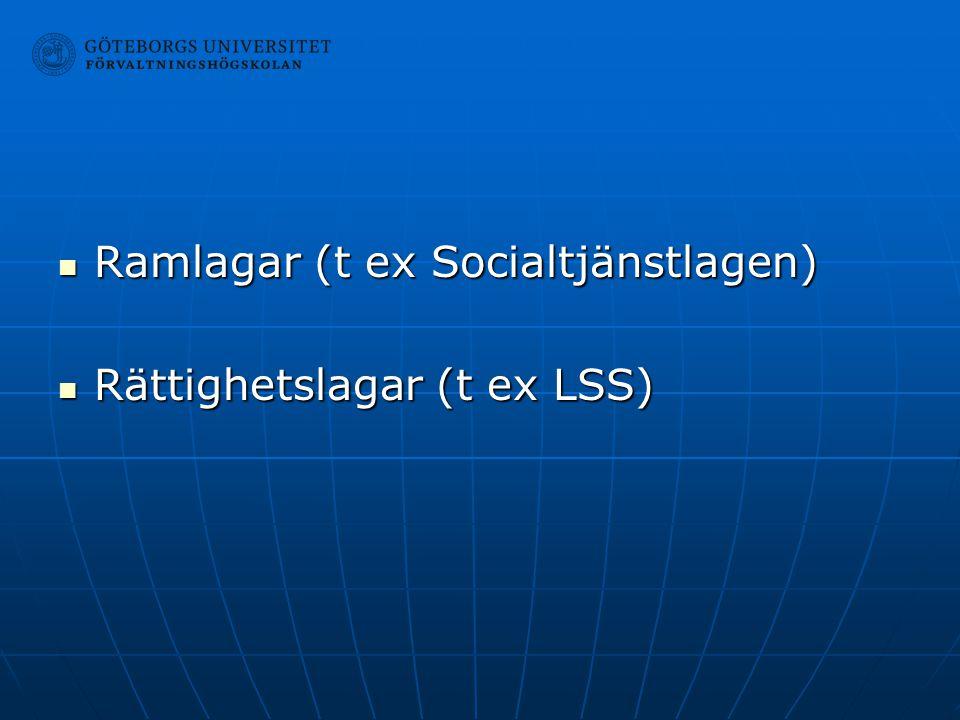Ramlagar (t ex Socialtjänstlagen) Ramlagar (t ex Socialtjänstlagen) Rättighetslagar (t ex LSS) Rättighetslagar (t ex LSS)