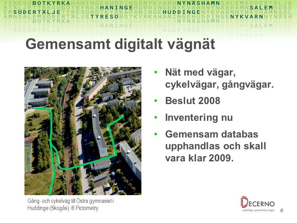 6 Gemensamt digitalt vägnät Nät med vägar, cykelvägar, gångvägar. Beslut 2008 Inventering nu Gemensam databas upphandlas och skall vara klar 2009. Gån