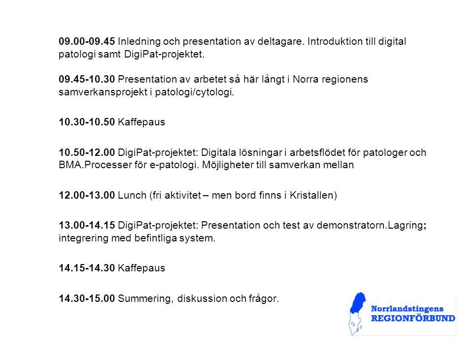 09.00-09.45 Inledning och presentation av deltagare.