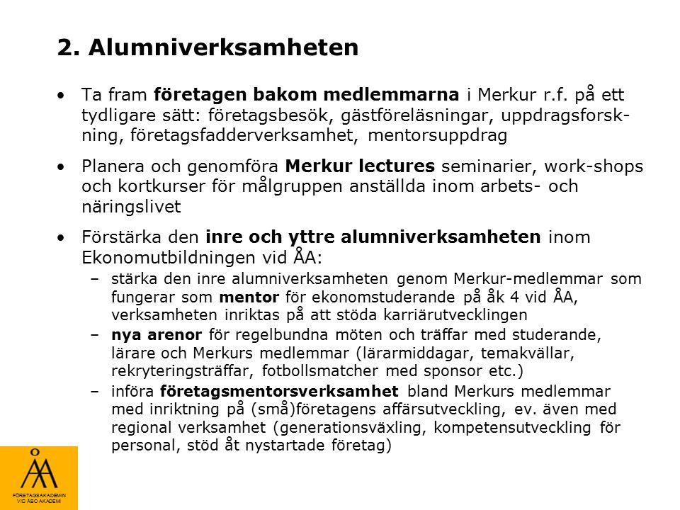 FÖRETAGSAKADEMIN VID ÅBO AKADEMI 2. Alumniverksamheten Ta fram företagen bakom medlemmarna i Merkur r.f. på ett tydligare sätt: företagsbesök, gästför
