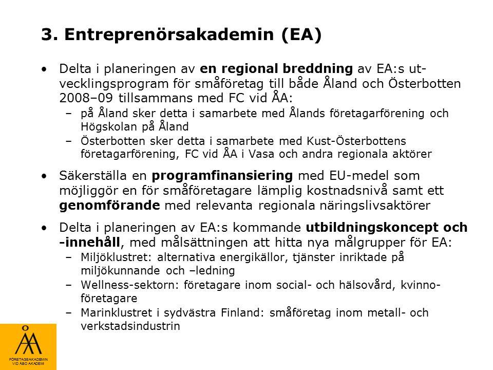 FÖRETAGSAKADEMIN VID ÅBO AKADEMI 3. Entreprenörsakademin (EA) Delta i planeringen av en regional breddning av EA:s ut- vecklingsprogram för småföretag