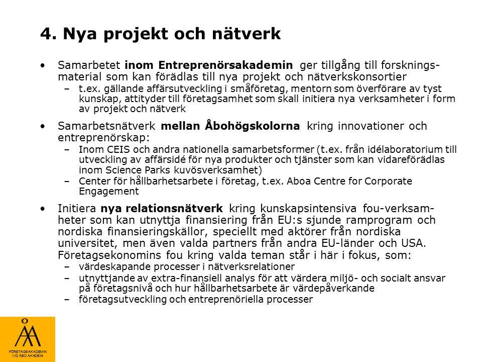 FÖRETAGSAKADEMIN VID ÅBO AKADEMI 4. Nya projekt och nätverk Samarbetet inom Entreprenörsakademin ger tillgång till forsknings- material som kan förädl