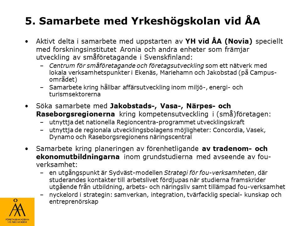 FÖRETAGSAKADEMIN VID ÅBO AKADEMI 5. Samarbete med Yrkeshögskolan vid ÅA Aktivt delta i samarbete med uppstarten av YH vid ÅA (Novia) speciellt med for