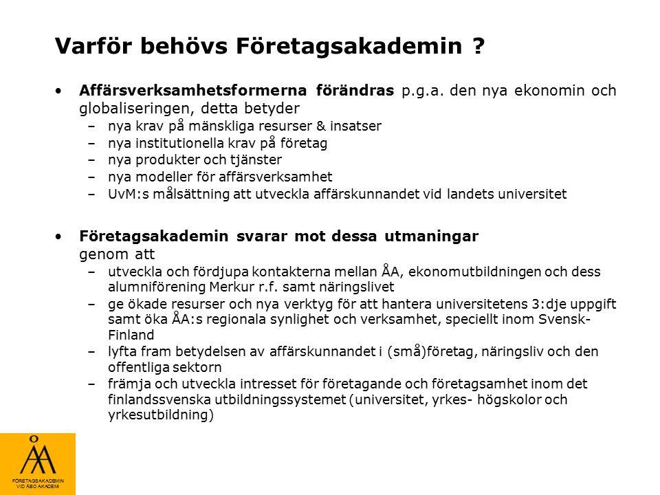 FÖRETAGSAKADEMIN VID ÅBO AKADEMI Varför behövs Företagsakademin .