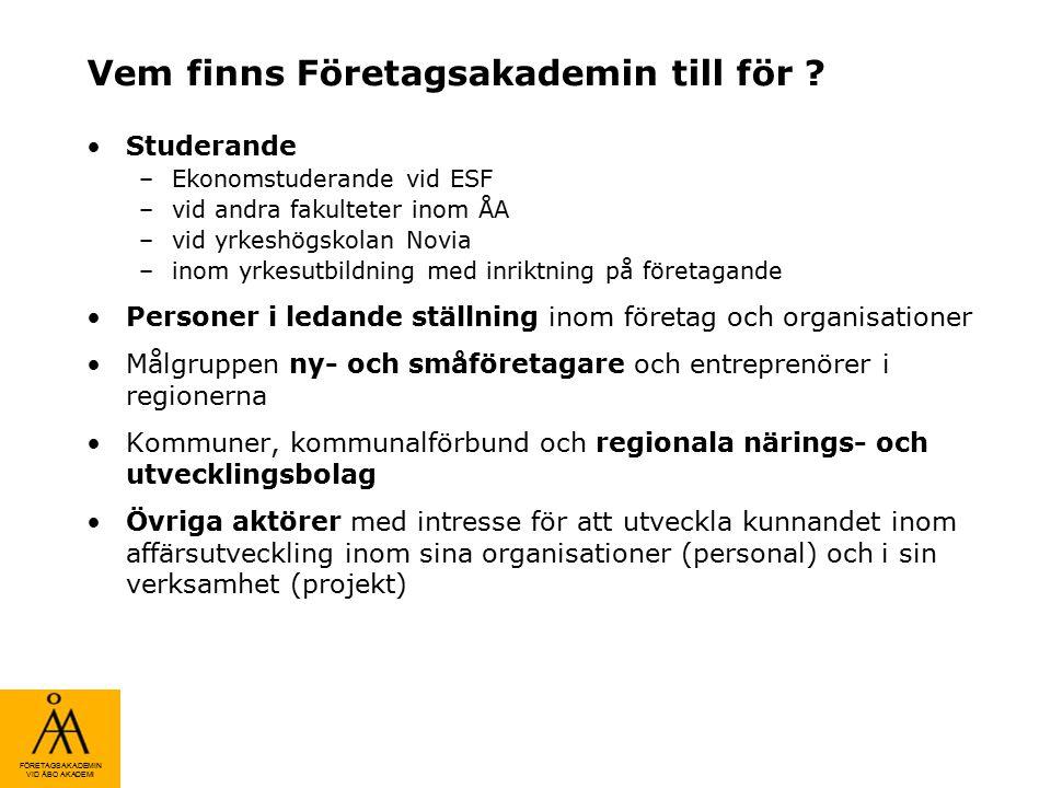 FÖRETAGSAKADEMIN VID ÅBO AKADEMI Nya affärsmodeller extern coaching & sparring Uppdragsutbildning skräddarsydd för företagskunder Forsknings- och utredningsprojekt i externt finansierade företagsprojekt vid ÅA och Novia Lednings- och entreprenörskapsbildning för studerande (magistersprogram och moduler till olika kurser) Fortbildning inom affärskunnade för företag och företagare (t.ex.
