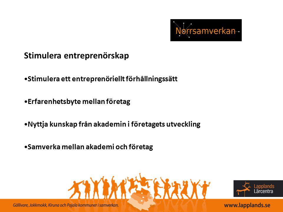 Stimulera entreprenörskap Stimulera ett entreprenöriellt förhållningssätt Erfarenhetsbyte mellan företag Nyttja kunskap från akademin i företagets utv