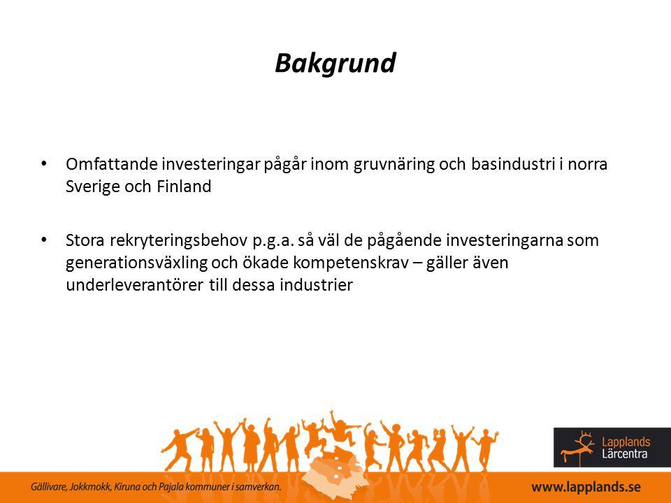 Bakgrund Omfattande investeringar pågår inom gruvnäring och basindustri i norra Sverige och Finland Stora rekryteringsbehov p.g.a. så väl de pågående