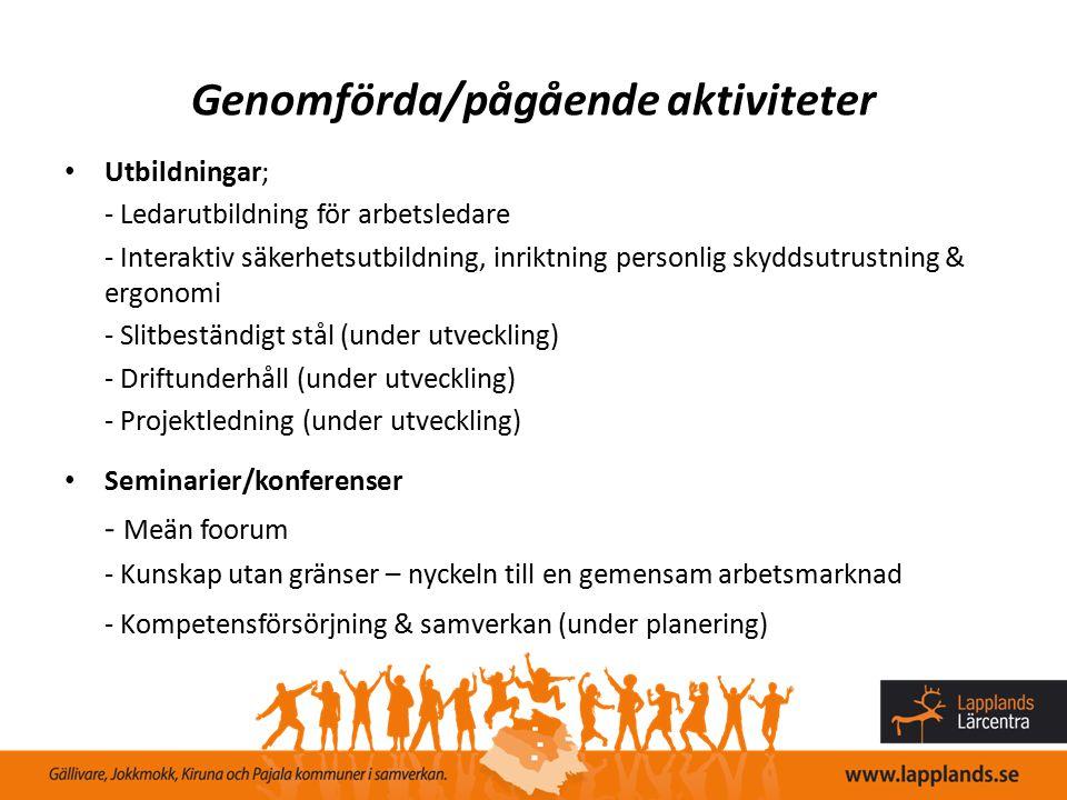 Genomförda/pågående aktiviteter Utbildningar; - Ledarutbildning för arbetsledare - Interaktiv säkerhetsutbildning, inriktning personlig skyddsutrustni