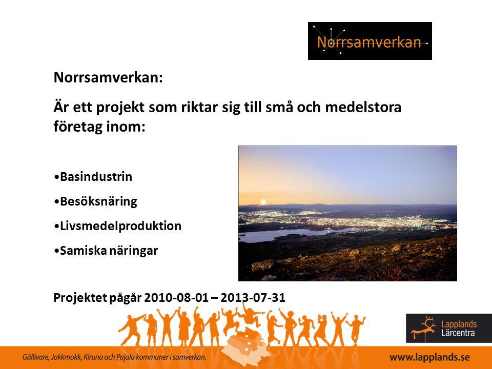Norrsamverkan: Är ett projekt som riktar sig till små och medelstora företag inom: Basindustrin Besöksnäring Livsmedelproduktion Samiska näringar Proj