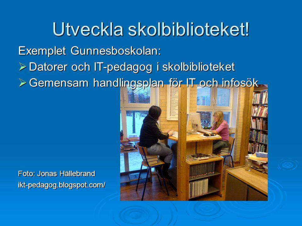 Utveckla skolbiblioteket! Exemplet Gunnesboskolan:  Datorer och IT-pedagog i skolbiblioteket  Gemensam handlingsplan för IT och infosök Foto: Jonas