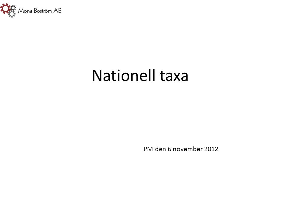 Nationell taxa PM den 6 november 2012