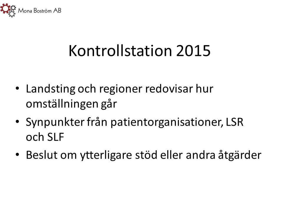 Kontrollstation 2015 Landsting och regioner redovisar hur omställningen går Synpunkter från patientorganisationer, LSR och SLF Beslut om ytterligare stöd eller andra åtgärder