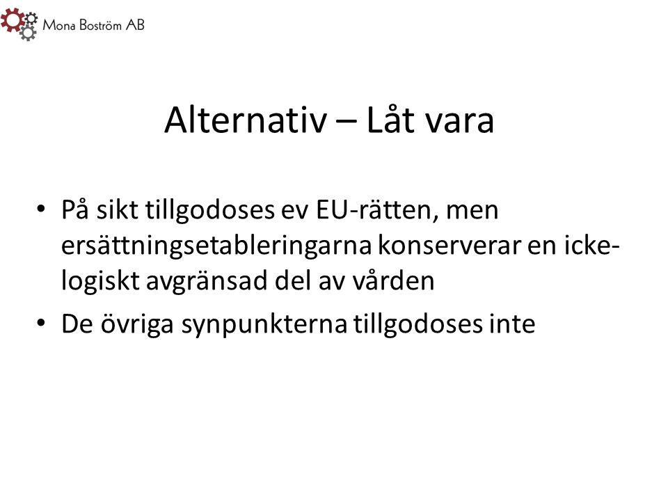 Alternativ – Låt vara På sikt tillgodoses ev EU-rätten, men ersättningsetableringarna konserverar en icke- logiskt avgränsad del av vården De övriga synpunkterna tillgodoses inte