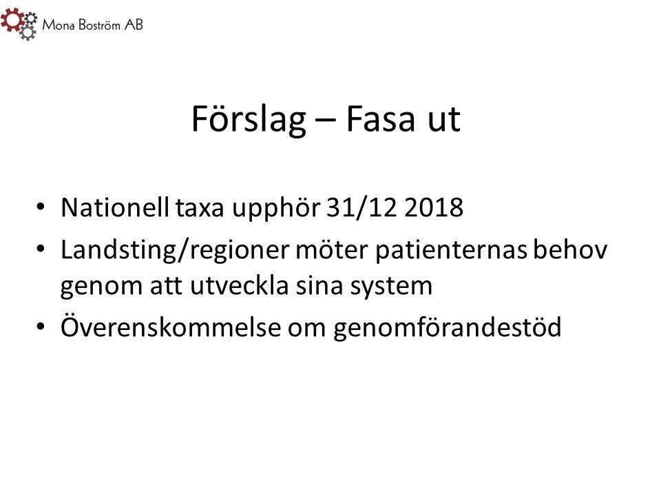 Förslag – Fasa ut Nationell taxa upphör 31/12 2018 Landsting/regioner möter patienternas behov genom att utveckla sina system Överenskommelse om genomförandestöd