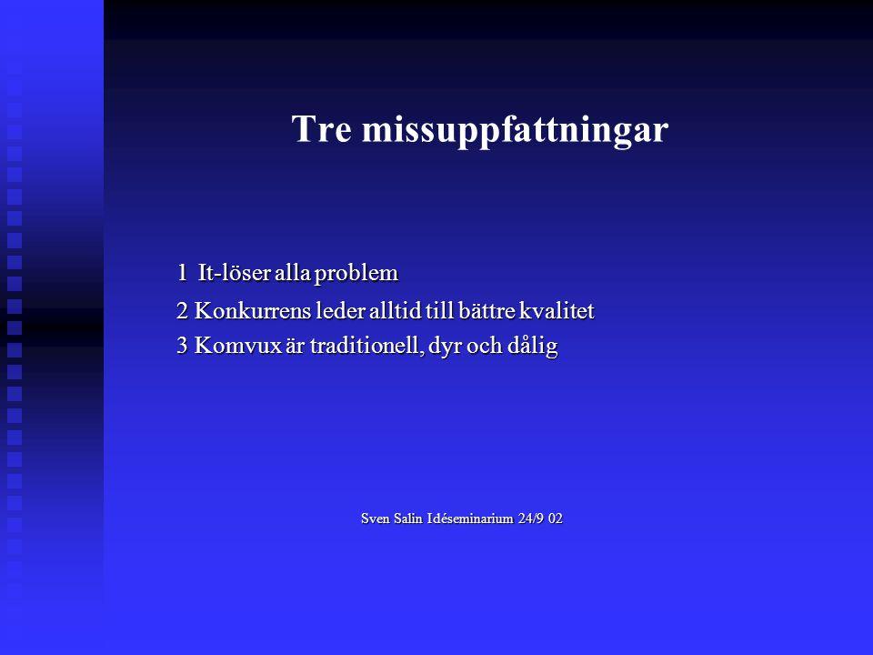 Tre missuppfattningar 1 It-löser alla problem 2 Konkurrens leder alltid till bättre kvalitet 3 Komvux är traditionell, dyr och dålig Sven Salin Idéseminarium 24/9 02