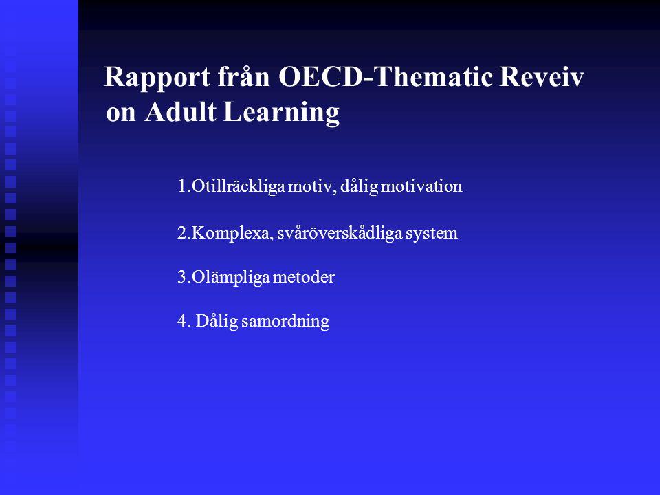 Rapport från OECD-Thematic Reveiv on Adult Learning 1.Otillräckliga motiv, dålig motivation 2.Komplexa, svåröverskådliga system 3.Olämpliga metoder 4.