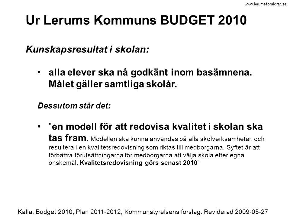 www.lerumsföräldrar.se Ur Lerums Kommuns BUDGET 2010 Kunskapsresultat i skolan: alla elever ska nå godkänt inom basämnena. Målet gäller samtliga skolå