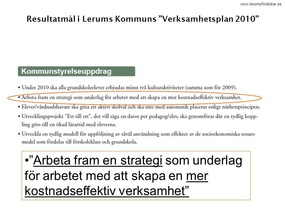 """www.lerumsföräldrar.se Resultatmål i Lerums Kommuns """"Verksamhetsplan 2010"""" """"Arbeta fram en strategi som underlag för arbetet med att skapa en mer kost"""
