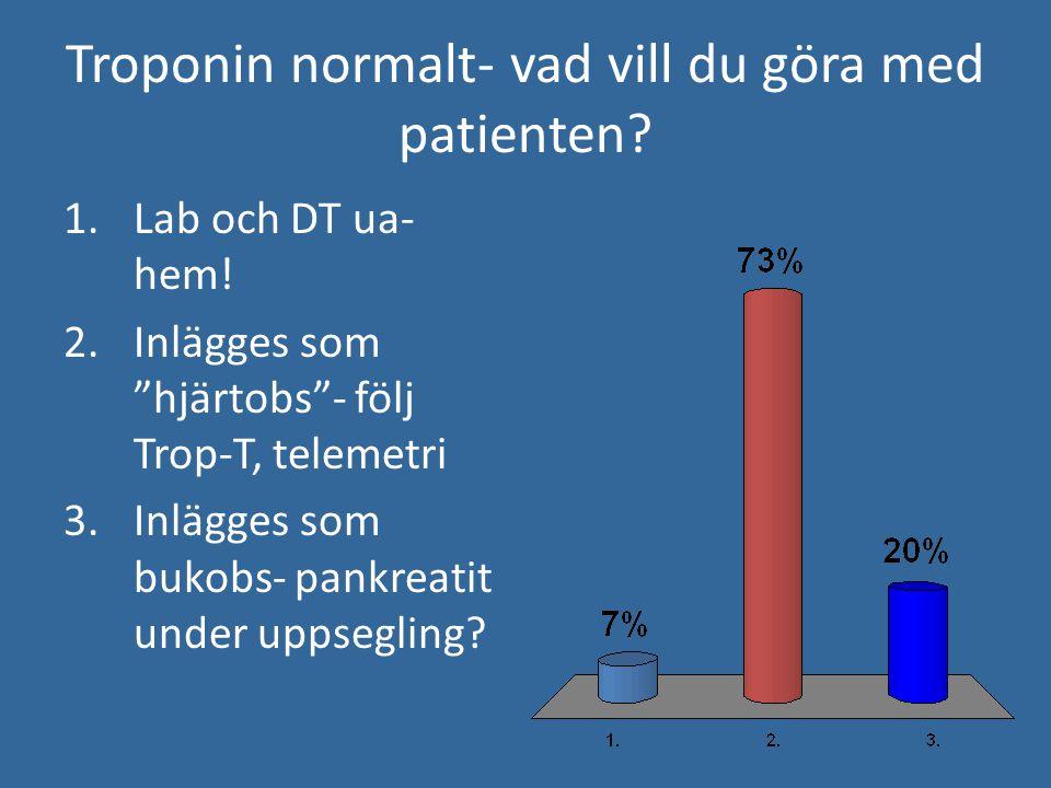"""Troponin normalt- vad vill du göra med patienten? 1.Lab och DT ua- hem! 2.Inlägges som """"hjärtobs""""- följ Trop-T, telemetri 3.Inlägges som bukobs- pankr"""