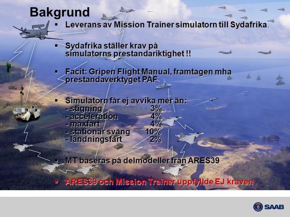Bakgrund  Leverans av Mission Trainer simulatorn till Sydafrika.  Sydafrika ställer krav på simulatorns prestandariktighet !!  Facit: Gripen Flight