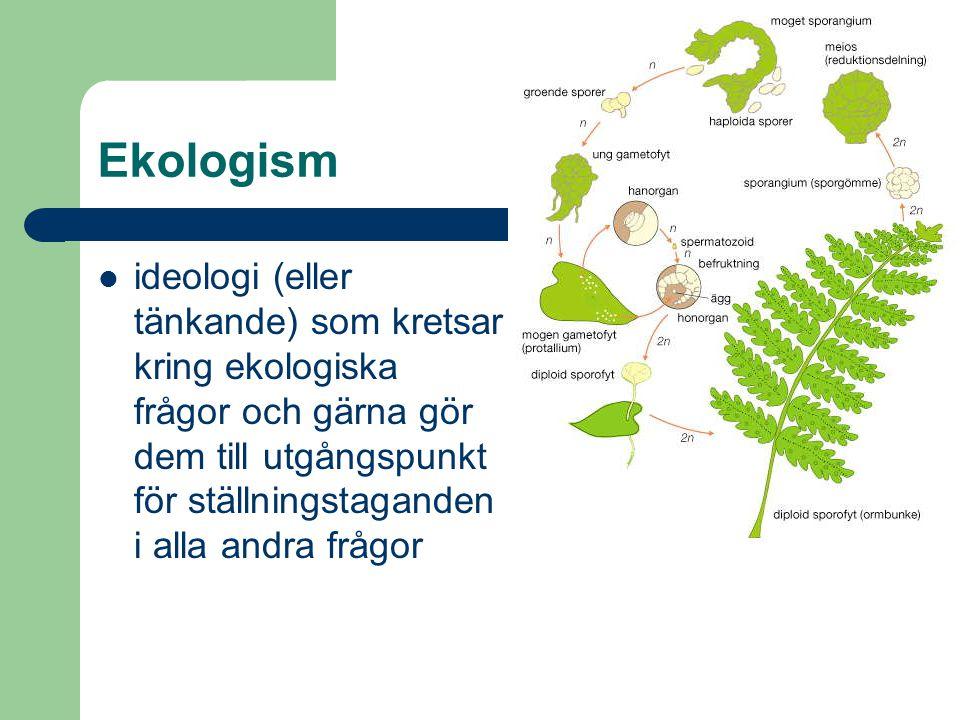 Ekologism ideologi (eller tänkande) som kretsar kring ekologiska frågor och gärna gör dem till utgångspunkt för ställningstaganden i alla andra frågor