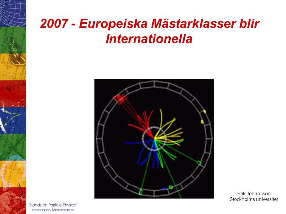 Erik Johansson Stockholms universitet Hands on Particle Physics 2007 – tredje året En mästare med studenter Föredrag Partikelfysik LHC-experiment Övningar DELPHI events Träffa forskare Video konferens från CERN