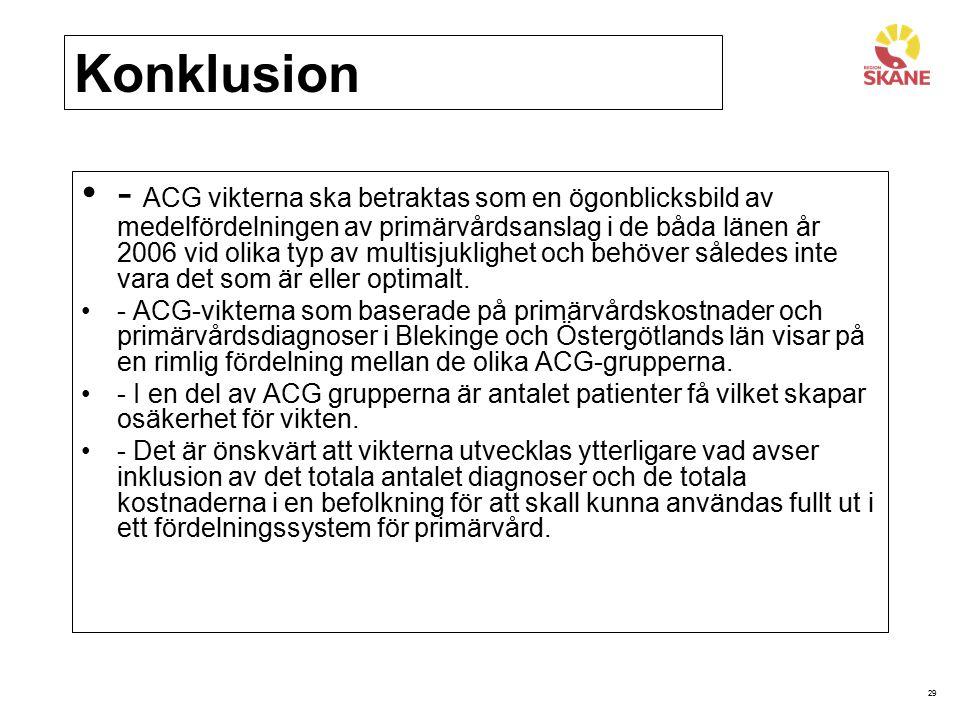 29 Konklusion - ACG vikterna ska betraktas som en ögonblicksbild av medelfördelningen av primärvårdsanslag i de båda länen år 2006 vid olika typ av mu