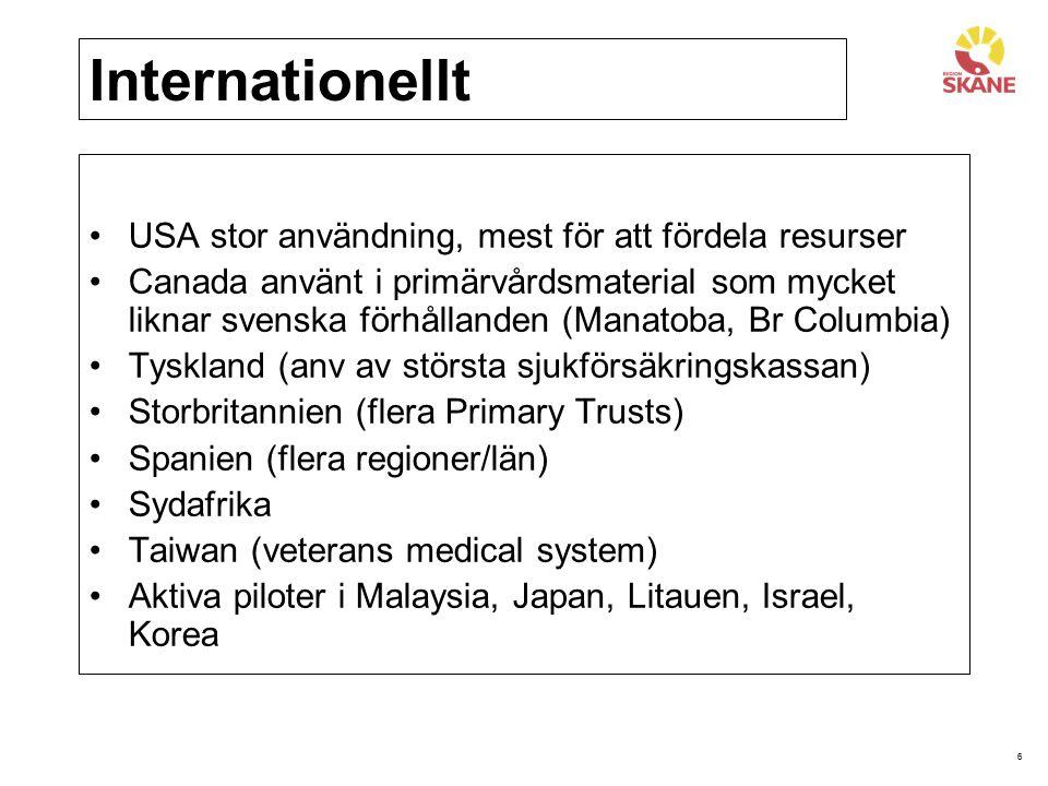 6 Internationellt USA stor användning, mest för att fördela resurser Canada använt i primärvårdsmaterial som mycket liknar svenska förhållanden (Manat