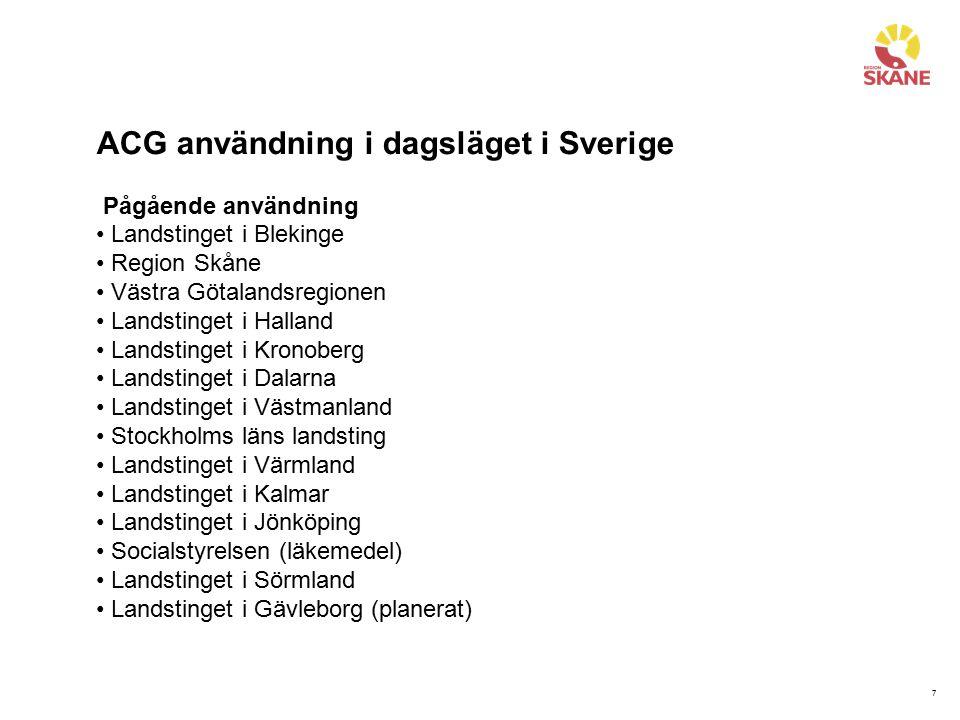7 ACG användning i dagsläget i Sverige Pågående användning Landstinget i Blekinge Region Skåne Västra Götalandsregionen Landstinget i Halland Landstin
