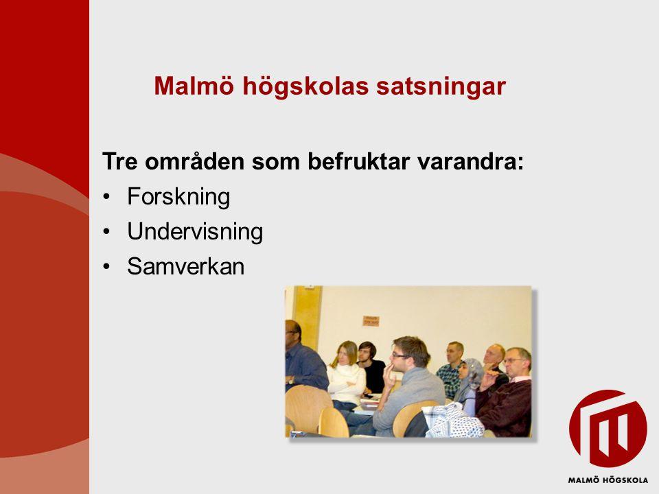 Malmö högskolas satsningar Tre områden som befruktar varandra: Forskning Undervisning Samverkan