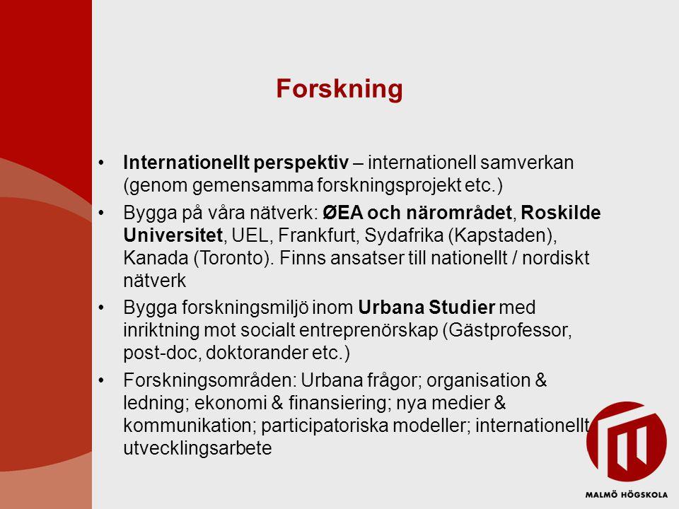 Forskning Internationellt perspektiv – internationell samverkan (genom gemensamma forskningsprojekt etc.) Bygga på våra nätverk: ØEA och närområdet, Roskilde Universitet, UEL, Frankfurt, Sydafrika (Kapstaden), Kanada (Toronto).