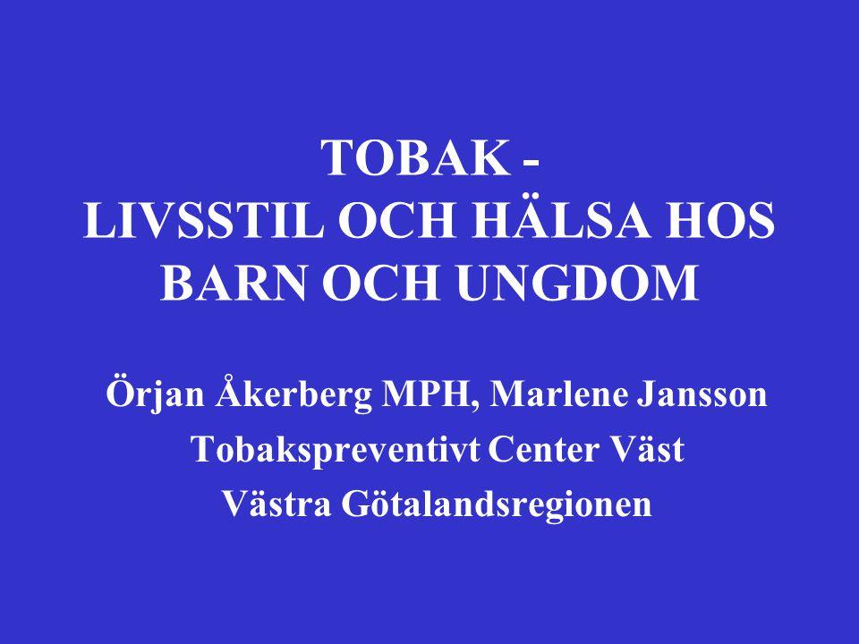 Örjan Åkerberg MPH, Marlene Jansson Tobakspreventivt Center Väst Västra Götalandsregionen TOBAK - LIVSSTIL OCH HÄLSA HOS BARN OCH UNGDOM