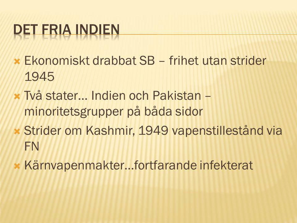  Ekonomiskt drabbat SB – frihet utan strider 1945  Två stater… Indien och Pakistan – minoritetsgrupper på båda sidor  Strider om Kashmir, 1949 vapenstillestånd via FN  Kärnvapenmakter…fortfarande infekterat