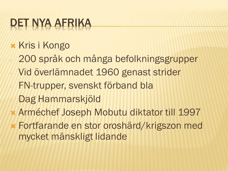  Kris i Kongo - 200 språk och många befolkningsgrupper - Vid överlämnadet 1960 genast strider - FN-trupper, svenskt förband bla - Dag Hammarskjöld  Arméchef Joseph Mobutu diktator till 1997  Fortfarande en stor oroshärd/krigszon med mycket mänskligt lidande