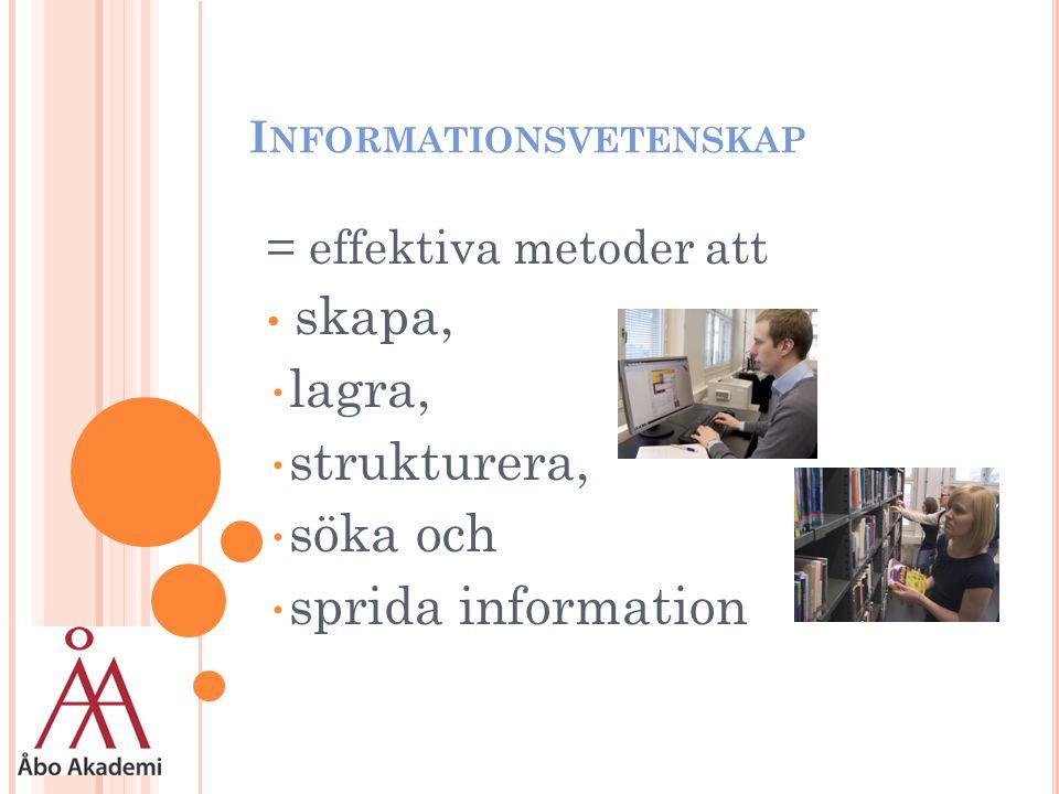 I NFORMATIONSVETENSKAP = effektiva metoder att skapa, lagra, strukturera, söka och sprida information