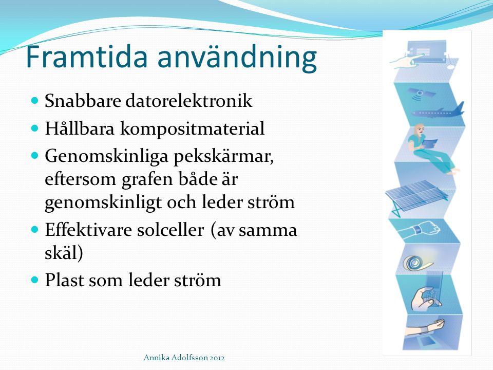 Annika Adolfsson 2012 Framtida användning Snabbare datorelektronik Hållbara kompositmaterial Genomskinliga pekskärmar, eftersom grafen både är genomsk