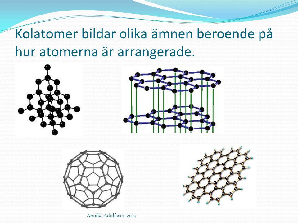 Kolatomer bildar olika ämnen beroende på hur atomerna är arrangerade. Annika Adolfsson 2012