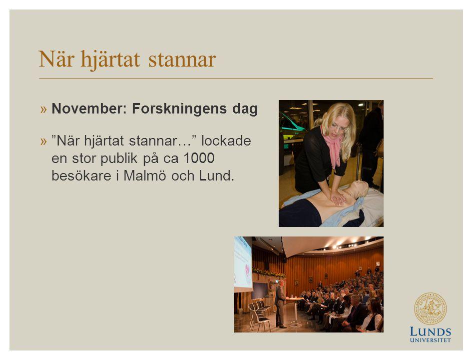 När hjärtat stannar »November: Forskningens dag » När hjärtat stannar… lockade en stor publik på ca 1000 besökare i Malmö och Lund.