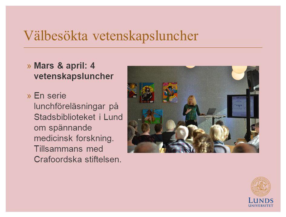 Eva och Göran Bundys stiftelse »Maj: Prisutdelning »De tre första unga forskarna som får forskningsbidrag från syskonen Eva och Göran Bundys stiftelse till stöd för medicinsk forskning vid Lunds universitet.