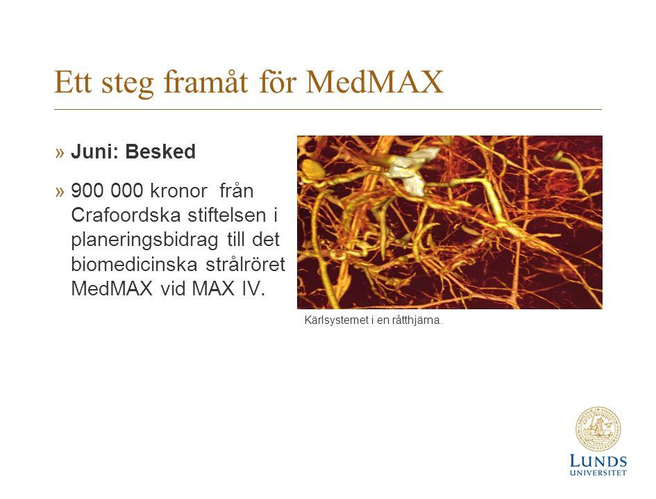 Ett steg framåt för MedMAX »Juni: Besked »900 000 kronor från Crafoordska stiftelsen i planeringsbidrag till det biomedicinska strålröret MedMAX vid MAX IV.